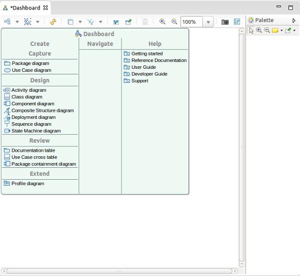 UML Designer, dashboard