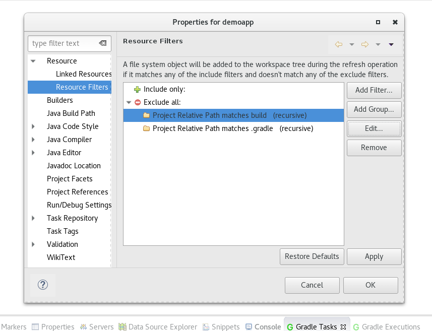 Configuring eclipse with gradle exclude malvernweather Gallery