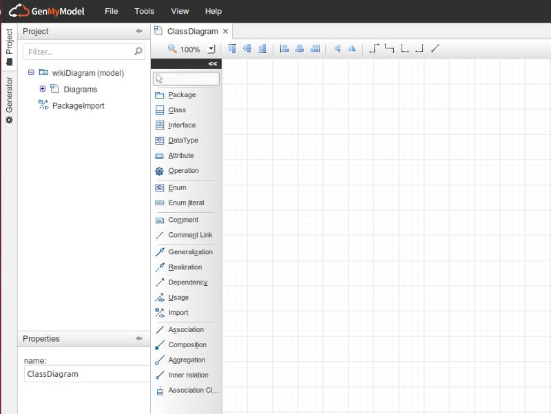 GenMyModel dashbord